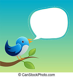 Blue Twittering Bird - A bird speaking with a speech bubble.