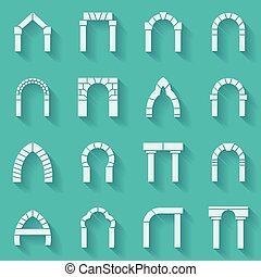 Flat silhouette icons vector collection of arch - Set of...