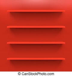 Shelves - Gorizontal red bookshelves on a red wall