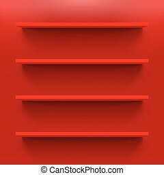 Shelves - Gorizontal  red shelves on  wall for design