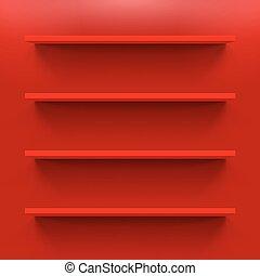 Shelves - Gorizontal  red shelves on  wall for design