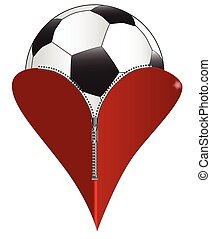 Love Soccer - A red heart with a zipper showing a soccer...