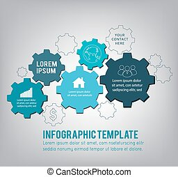 Technology background with gear wheel, infographic template....