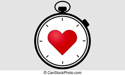 Stopwatch With Pulsing Heart - Stopwatch with a healthy red..