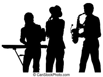 Brass group  - Music man whit brass band on white background