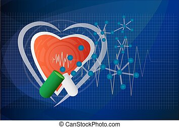 Digital illustration of heart in colour background, vector