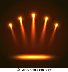 Background With Five Bright Spotlights - Abstract Background...