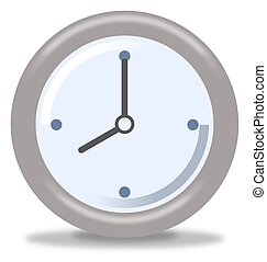 Clock Eight - Silver and blue clock on white background...