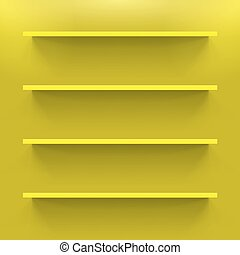 Shelves - Four gorizontal shelves on the yellow wall