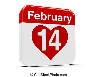 14th February with heart - Calendar web button - The...