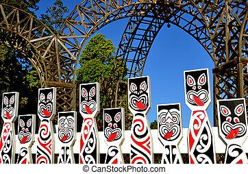 Maori sculptures in Rotorua  New Zealand