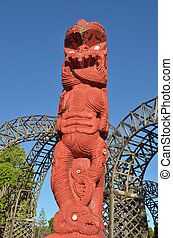 Maori sculpture in Rotorua  New Zealand
