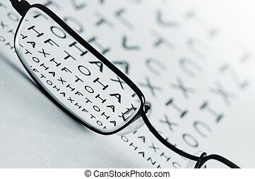 Eye Sight Test - Spectacles bringing an eye test chart into...