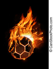 Hot Football On Fire - A soccer football in flames.