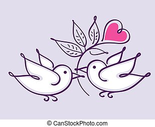 Pair of lovebirds with heart flower isolated on violet...