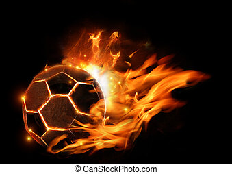 Hot Football On Fire - A soccer football in flames