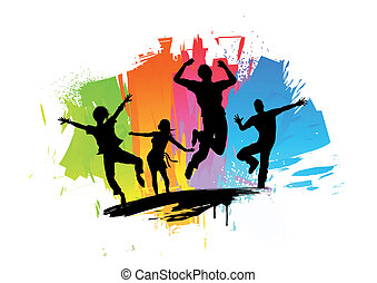 Happiness Splash - Active jumping people Vector Illustration...