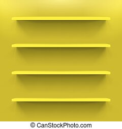 Shelves - Four yellow gorizontal bookshelves on the wall