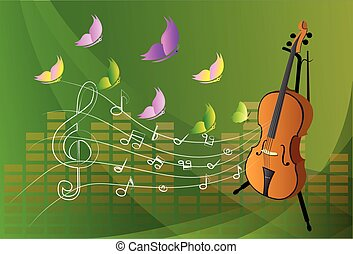 illustration of violin on colorful abstract grungy background