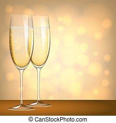 glasses of champagne - Two glasses of champagne on yellow...