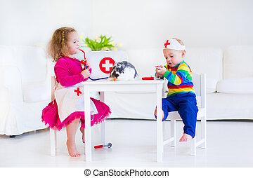 Kinder, spielende, Doktor