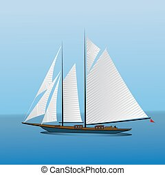 Big sailing yacht in the sea landscape