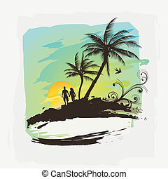 Tropical Summer  - Two people walking on a tropical beach.