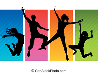 Jumping People Silhouettes - A group of happy young adults...