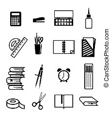 stationery supplies - stationery vector black icon on white...