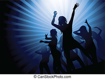 Ladies Party Night - Silhouettes of women dancing in a...