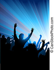 Crowd at A Concert - Party corwd of people Vector...