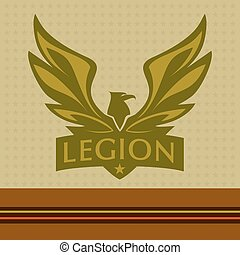 Vector logo with a picture of an eagle Legion
