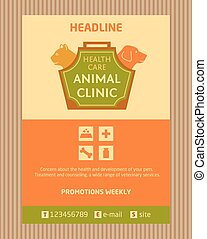 Logo for animal clinic. Brochure, Flyer design vector...