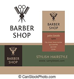 Vector heraldic logo for a hairdressing salon. Business card...