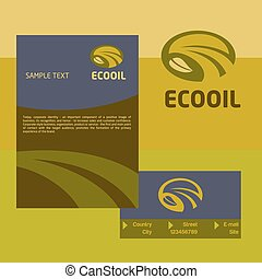Vector logo, business card and cover for the production and sale of organic oils. The design concept