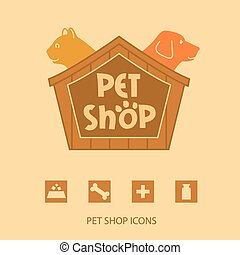 Logo with animals for pet shop. Cat and dog in the house....