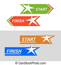 Start and finish, vector sticker, button An image with a...
