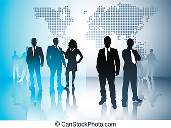 Business Opportunities - Business people with a world in the...