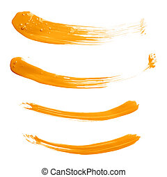 Curved oil paint brush strokes isolated - Set of four curved...