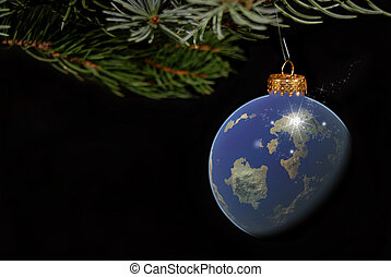 Global Globe - Christmas ornament of the earth hanging from...