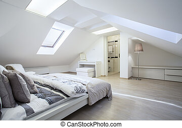Spacious and fashionable bedroom connected with bathroom