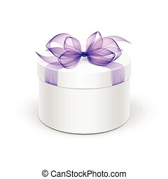 White Round Gift Box with Purple Ribbon and Bow - White...