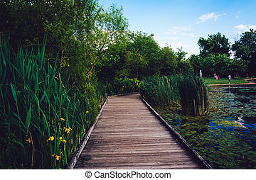 Boardwalk trail along the pond at Patterson Park, Baltimore,...