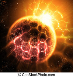Atoms and Photons - Sunlight breaking over the planet earth...