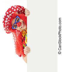 Peek-A-Boo Clown - A colorful clown peeking around a large...