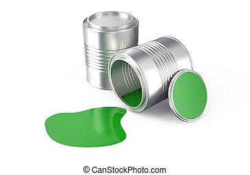 spilled green paint