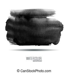 Black watercolor banner - vector illustration. - Watercolor...