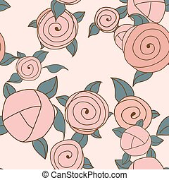 Seamless roses pattern. Vintage roses. Vector illustration