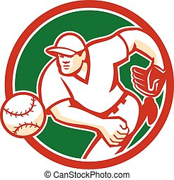 American Baseball Pitcher Throwing Ball Circle Retro -...
