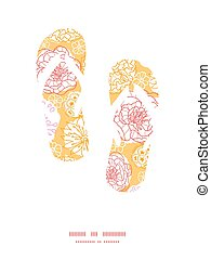 Vector warm day flowers flip flops silhouettes pattern frame...
